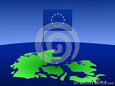 Mapa de Dinamarca com bandeira