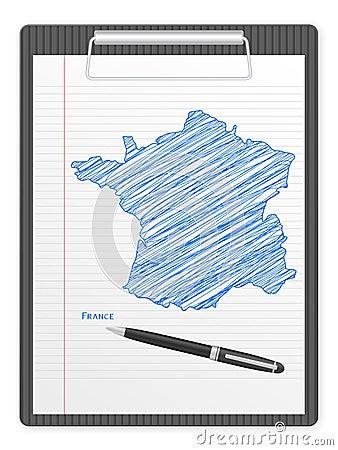 Mapa de France da prancheta