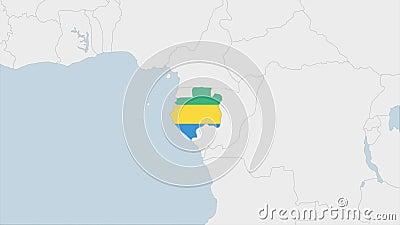 Mapa de Gabón resaltado en los colores de la bandera de Gabón y pin de la capital del país, Libreville ilustración del vector