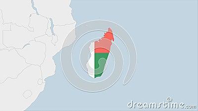 Mapa de Madagascar resaltado en los colores de la bandera de Madagascar y en Antananarivo, la capital del país stock de ilustración