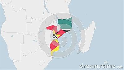 Mapa de Mozambique resaltado en los colores de la bandera de Mozambique y en Maputo, la capital del país libre illustration