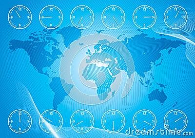 Mapa de mundo e tempo da região