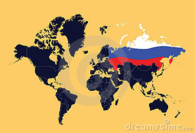 Mapa de mundo que mostra a Federação Russa