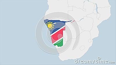 Mapa de Namibia resaltado en los colores de la bandera de Namibia y en la capital del país, Windhoek ilustración del vector