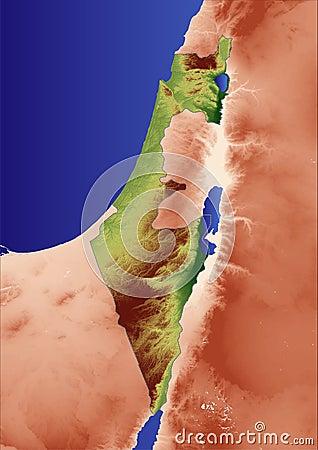 Mapa de relevo de Israel