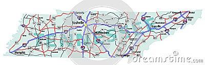 Mapa de um estado a outro do estado de Tennessee