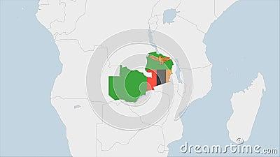 Mapa de Zambia resaltado en los colores de la bandera de Zambia y en Lusaka, la capital del país libre illustration