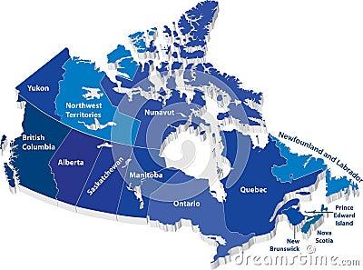 Mapa del vector de Canadá