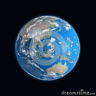 Mapa detalhado elevado da terra, China, Austrália,