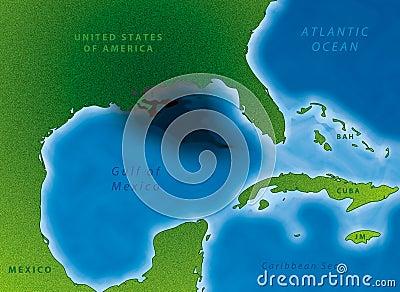 Mapa do derramamento de petróleo do golfo