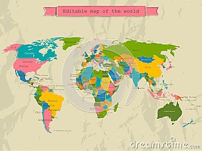 Mapa do mundo editável com todos os países.