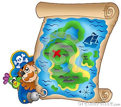 Mapa do tesouro com pirata de espreitamento