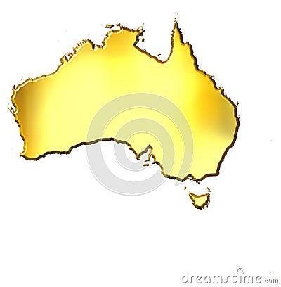 Mapa dourado de Austrália 3d