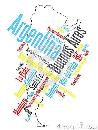 Mapa e cidades de Argentina