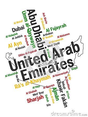 Mapa e cidades dos UAE