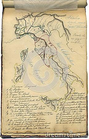 Mapa original do vintage de Italy