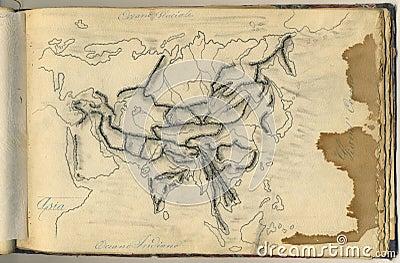 Mapa original do vintage de Ásia