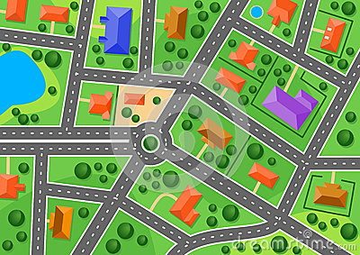 Mapa przedmieście lub mały miasteczko