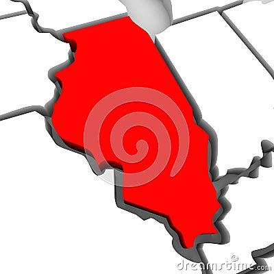 Mapa rojo Estados Unidos América del estado del extracto 3D de Illinois