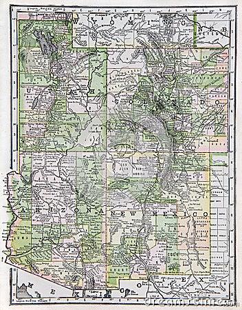 Mapa velho do sudoeste dos E.U.