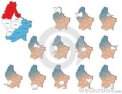 Mapas das províncias de Luxemburgo