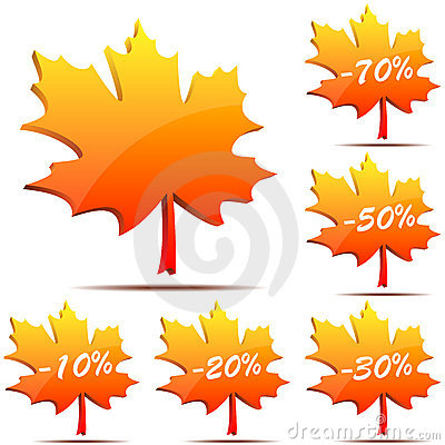 Free Maple Leaf Discount Labels Stock Photography - 11001802