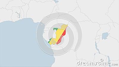 Mappa del Congo evidenziata nella bandiera del Congo colori e spillo della capitale del paese Kinshasa illustrazione di stock