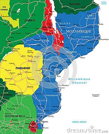 Mappa del Mozambico