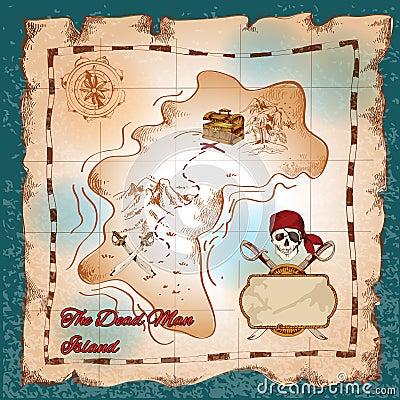 Mappa Del Tesoro Dei Pirati Illustrazione Vettoriale - Immagine ...