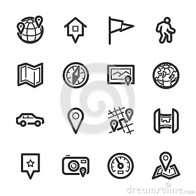 Free Maps And Navigation Icons – Bazza Series Royalty Free Stock Photography - 37612437