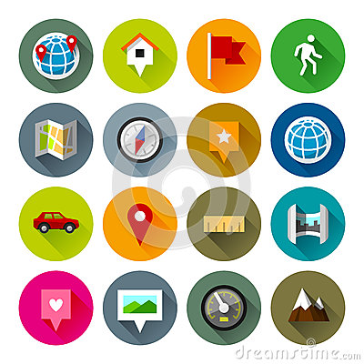 Free Maps And Navigation Icons – Fllate Series Royalty Free Stock Photography - 38805397