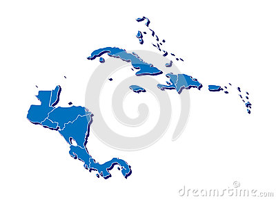 Central America and Caribbean islands map