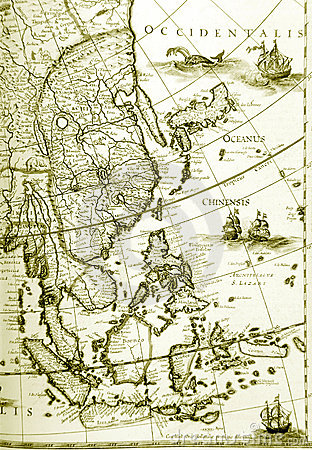 Maps of southeast asia countries, old antique