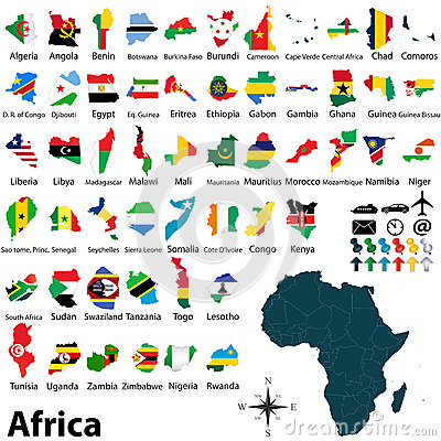 Free Maps With Flags Of Africa Stock Photography - 36551482