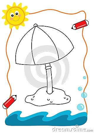 Mar do livro de coloração, o guarda-chuva