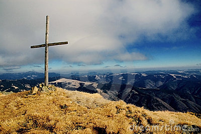 Maramures, cross on a top of the mountain,