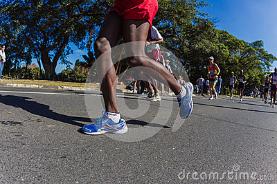 Marathon Legs Shoes Action  Editorial Stock Image