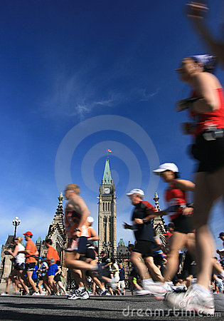 Marathon and Peace Tower Editorial Image