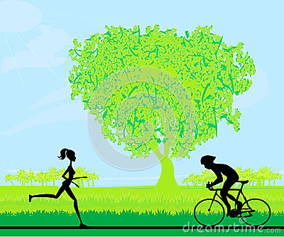 marathon runner and cyclist race