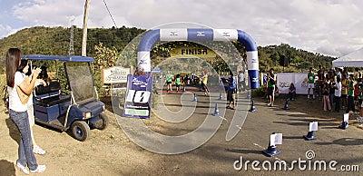 Marathon runners finish line Editorial Stock Photo