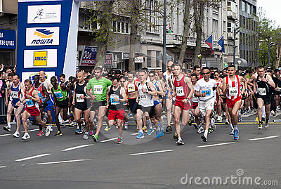 Marathonanfang Redaktionelles Stockfotografie