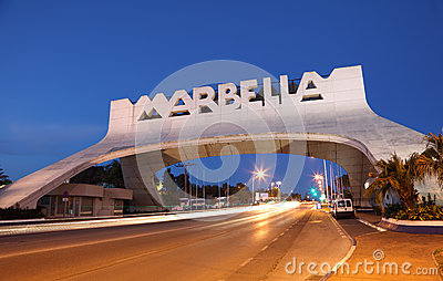 Marbella Arch at night. Spain