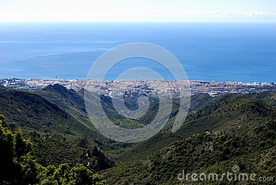 Marbella town and Mediterranean sea, Spain.