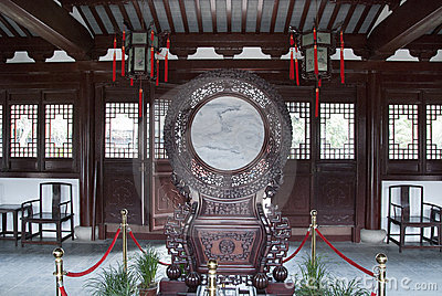 Chinese ancient lobby Traditional furniture  Editorial Image