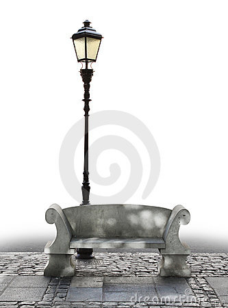 Marble bench and streetlight