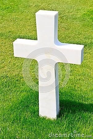 Marble Cross of fallen Soldier