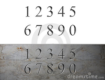 Marble Engraved Numbers