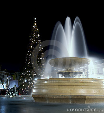 Marble Fountain at night with Christmas Tree