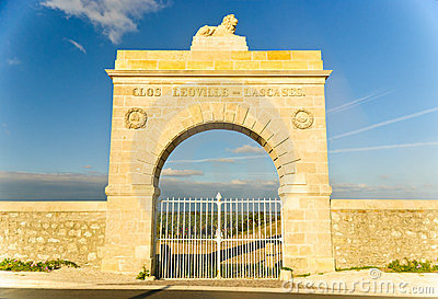 Marble gate - arc to vineyard, Medoc, France