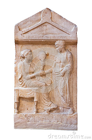 Marble grave stele of Mika and Dion (400 B.C.)